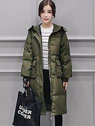 Пальто Простое Длинная Пуховик Для женщин,Однотонный На каждый день Большие размеры Полиэстер Пух белого гуся,Длинный рукав