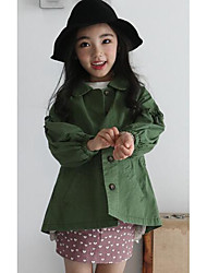 Girl Casual/Daily Solid Trench Coat,Cotton Fall Long Sleeve Long