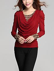 Damen Patchwork Einfach Lässig/Alltäglich / Übergröße T-shirt,Rundhalsausschnitt Alle Saisons Langarm Rot / Schwarz Polyester