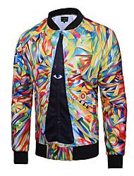 Veste Hommes,Imprimé Habillées / Soirée / Grandes Tailles simple / Chic de Rue / Actif Manches Longues Col en V Jaune Coton / Polyester