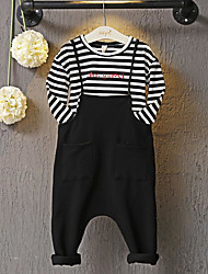 Girl's Casual/Daily Striped TeeCotton Spring / Fall Black