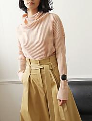 Mujer Regular Pullover Casual/Diario Vintage,Un Color Rosa Cuello Alto Manga Larga Lana / Acrílico / Poliéster / Nailon Otoño / Invierno