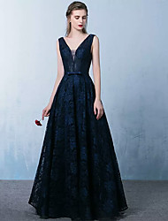 Formal Evening Dress A-line V-neck Floor-length Lace with Sash / Ribbon