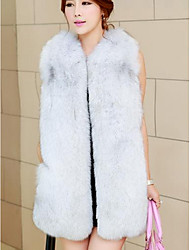Women's Casual/Daily Simple Fur Coat,Solid Sleeveless Winter White / Black / Gray Fox Fur