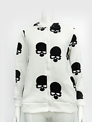 Women's Casual/Daily Simple / Active Regular Hoodies,Print White / Black Hooded Long Sleeve Cotton Fall / Winter Medium Stretchy