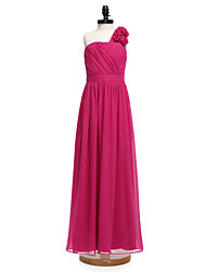 Lanting Bride® Floor-length Chiffon Junior Bridesmaid Dress A-line One Shoulder with Sash / Ribbon / Flower(s)