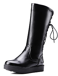 Women's Solid Low Heels Round Closed Toe Pu Zipper Boots