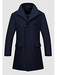 Men's Casual/Daily Simple Coat,Solid Shirt Collar Long Sleeve Fall / Winter Blue Polyester Thick