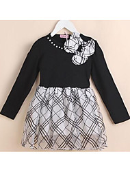 Girl's Going out Solid DressCotton Spring / Fall Black / White