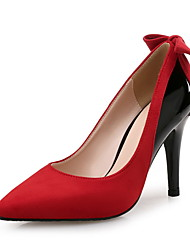 Women's Heels Others Fleece Microfibre Wedding Dress Party & Evening Stiletto Heel Bowknot Split Joint Red