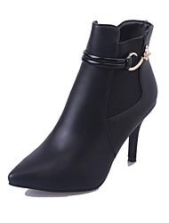 Women's Boots Winter Comfort PU Casual Stiletto Heel Split Joint Black Red Walking