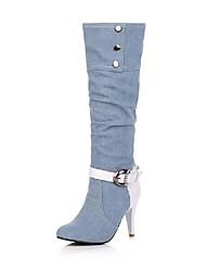 Feminino-Botas-Conforto-Salto Cone-Preto / Azul / Azul Real-Jeans-Casamento / Ar-Livre / Social