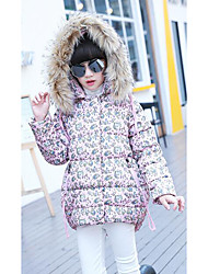 Girl's Floral Down & Cotton PaddedPolyester Winter Pink