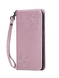 For LG Case Wallet / Card Holder / with Stand / Embossed Case Full Body Case Flower Hard PU Leather LGLG K10 / LG K8 / LG K7 / LG K4 / LG