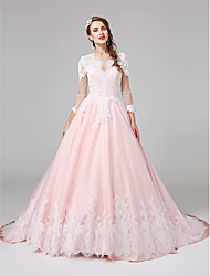 LAN TING BRIDE Ball Gown Wedding Dress Wedding Dress in Color Court Train Jewel Lace Satin with Appliques Button