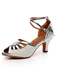Customizable Women's Dance Shoes Leatherette Leatherette Latin Sandals Chunky HeelPractice / Beginner / Professional / Indoor /