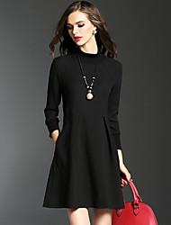 Mujer Vaina Vestido Casual/Diario / Tallas Grandes Chic de Calle,Retazos Cuello Alto Sobre la rodilla Manga Larga Negro / Gris Algodón