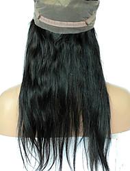 360 Лобовой Прямые Человеческие волосы закрытие Умеренно-коричневый Французское кружево 75g-95g грамм Средние Размер крышки