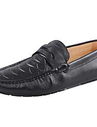 Herren-Loafers & Slip-Ons-Outddor Büro Lässig-Leder-Flacher Absatz-Mokassin-Schwarz Braun Marineblau