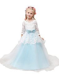Ball Gown Court Train Flower Girl Dress 3/4 Length Sleeve V-neck with Appliques / Bow(s) / Sash / Sequins