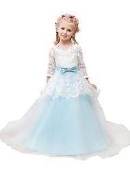 Robe de bal tribunal train robe fille fleur - tulle 3/4 manches longues v-cou avec applique