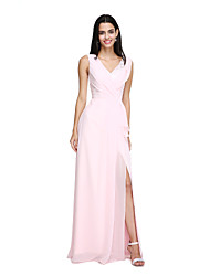 2017 Lanting Bride® Floor-length Chiffon Furcal Bridesmaid Dress - V-neck with Split Front