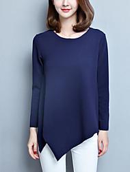 Damen Solide Einfach Übergröße T-shirt,Rundhalsausschnitt Herbst Langarm Blau / Rot Polyester Mittel