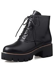Damen-Stiefel-Kleid / Lässig-PU-Blockabsatz-Komfort / Modische Stiefel-Schwarz
