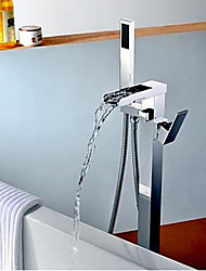 Art Deco/Retro / Modern Tub And Shower Waterfall / Floor Standing / Pullout Spray with  Ceramic ValveSingle Handle One