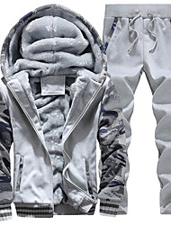 Для мужчин Спорт Винтаж Большие размеры Набор Контрастных цветов Слабоэластичная Хлопок Длинный рукав Лето Осень