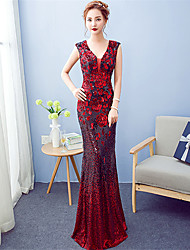 Formal Evening Dress A-line V-neck Floor-length Sequined with Sequins