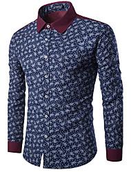 Masculino Camisa Happy-Hour / Casual / Férias Vintage / Simples / Chinoiserie Todas as Estações / Inverno,Sólido / Floral Azul / Vermelho