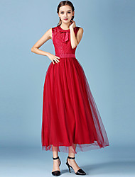 1287 Women's Bow Going out / Casual/Daily Simple A Line / Lace Dress Round Neck Maxi Sleeveless Red Polyester / Others All