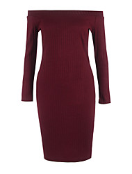 Women's Work Simple / Street chic Bodycon Dress,Solid Boat Neck Midi Long Sleeve Red / Black Polyester Spring / Fall Mid Rise