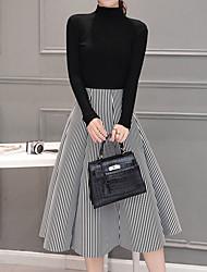 Women's Going out Simple Fall / Winter Set SkirtPlaid Turtleneck Long Sleeve White / Black Polyester Medium