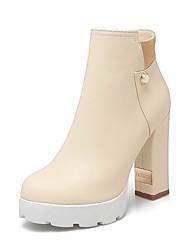 Women's Zipper Round Closed Toe High Heels Low Top Boots