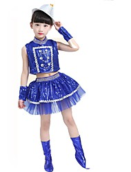 Jazz Outfits Kid's Performance Polyester Sequin 4 Pieces Sleeveless Skirts Tops Hats Bracelets
