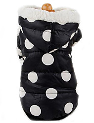Dog Coat / Hoodie Black / Pink Dog Clothes Winter Polka Dots Keep Warm