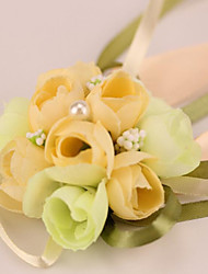 "Wedding Flowers Round Roses Wrist Corsages Wedding / Party/ Evening Satin / Bead 3.15""(Approx.8cm)"