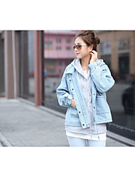 Women's Casual/Daily Street chic Denim Jackets,Solid Shirt Collar Long Sleeve Fall / Winter Blue Polyester Medium