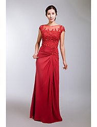 Formal Evening Dress A-line Scoop Floor-length Chiffon / Tulle with Crystal Detailing / Embroidery / Pleats / Split Front