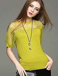 Damen Standard Pullover-Ausgehen Lässig/Alltäglich Urlaub Einfach Niedlich Street Schick Solide Blau Weiß Gelb Rundhalsausschnitt Kurzarm