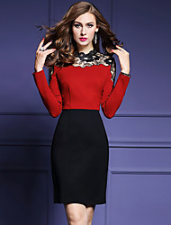 Women's Plus Size / Going out Street chic Sheath Dress,Patchwork Stand Above Knee Long Sleeve Red Polyester Fall Mid Rise Micro-elastic