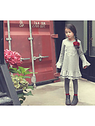 Girl's Casual/Daily Solid Dress Fall Gray