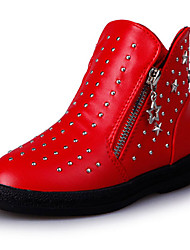 Girl's Boots Fall / Winter Comfort Leatherette Dress / Casual Flat Heel Rivet / Zipper Black / Red Walking
