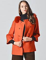 Manteau Femme,Couleur Pleine Sortie simple Manches ¾ Col Arrondi Orange Laine / Fourrure de renard Opaque / Epais Automne