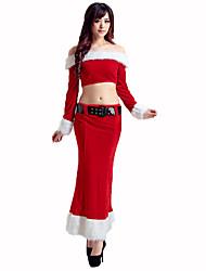 Santa Anzüge Fest/Feiertage Halloween Kostüme Rot / Weiß einfarbig Top / Rock / Gürtel Weihnachten Terylen