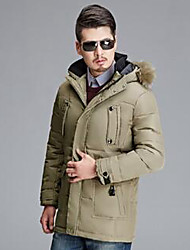 Men's Regular Down Coat,Simple Casual/Daily Solid-Polyester White Duck Down Long Sleeve Hooded Beige