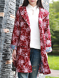 Cynthia Women's Casual/Daily Chinoiserie Trench CoatFloral Hooded Long Sleeve Spring / Fall Red Cotton
