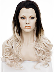 IMSTYLE 24''Heavy Density Heat Resistant Blonde Long Wave Synthetic Wig Lace Front Dark Root
